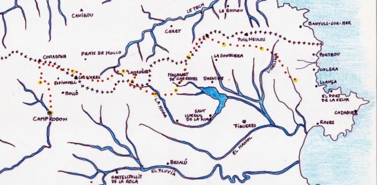 Karte Pyrenäen wanderung